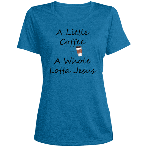 COffee + Jesus Blk Ladies' Heather Dri-Fit Moisture-Wicking T-Shirt