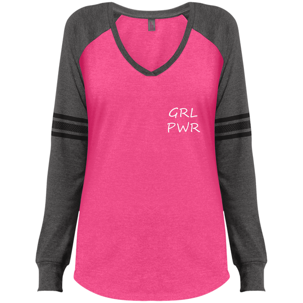 GRL PWR Ladies' Game LS V-Neck T-Shirt