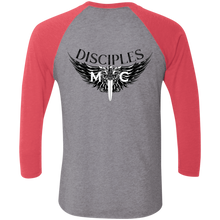 Load image into Gallery viewer, Disciples MC Black Tri-Blend 3/4 Sleeve Baseball Raglan T-Shirt