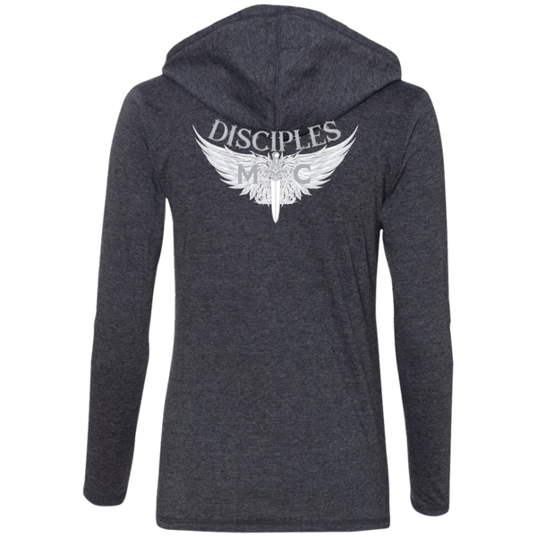 Disciples MC White Blade Anvil Ladies' LS T-Shirt Hoodie