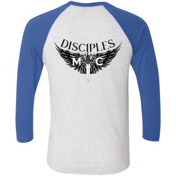 Disciples MC Black Blade Tri-Blend 3/4 Sleeve Baseball Raglan T-Shirt