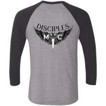 Load image into Gallery viewer, Disciples MC Black Blade Tri-Blend 3/4 Sleeve Baseball Raglan T-Shirt