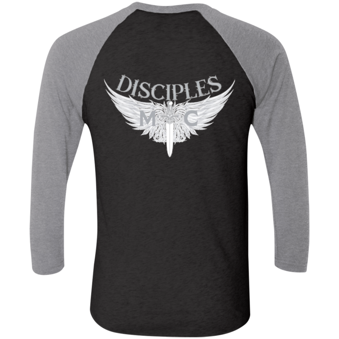 Disciples MC White Tri-Blend 3/4 Sleeve Baseball Raglan T-Shirt