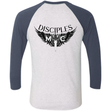Load image into Gallery viewer, Disciples MC Black Poet Tri-Blend 3/4 Sleeve Baseball Raglan T-Shirt