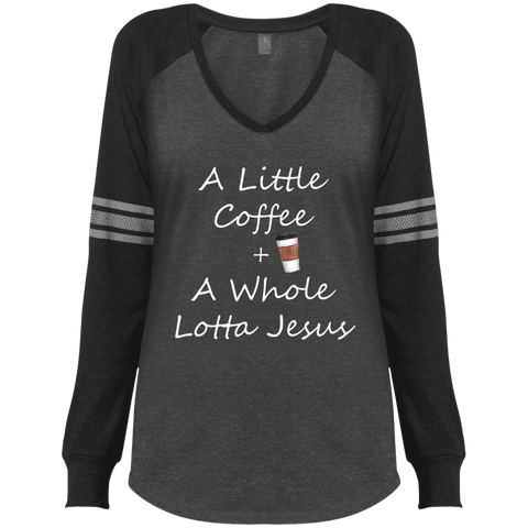 COffee + Jesus Ladies' Game LS V-Neck T-Shirt