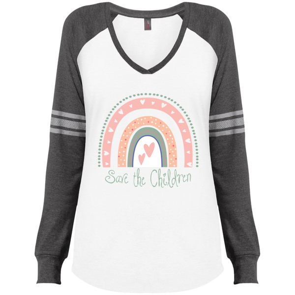 Save The Children Ladies' Game LS V-Neck T-Shirt
