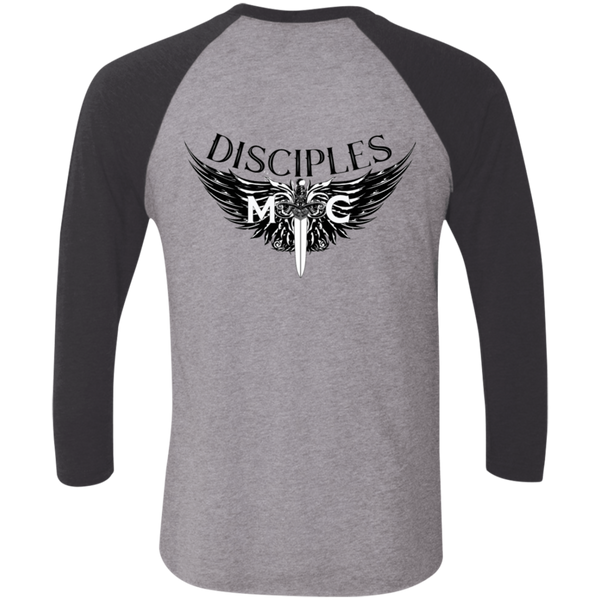 Disciples MC Black Edge Tri-Blend 3/4 Sleeve Baseball Raglan T-Shirt