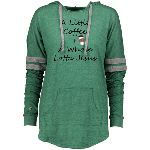 COffee + Jesus Blk Ladies Hooded Low Key Pullover