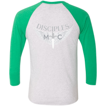 Load image into Gallery viewer, Disciples MC White Poet Tri-Blend 3/4 Sleeve Baseball Raglan T-Shirt