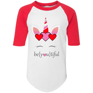 BeYOUtiful Unicorn Youth Colorblock Raglan Jersey