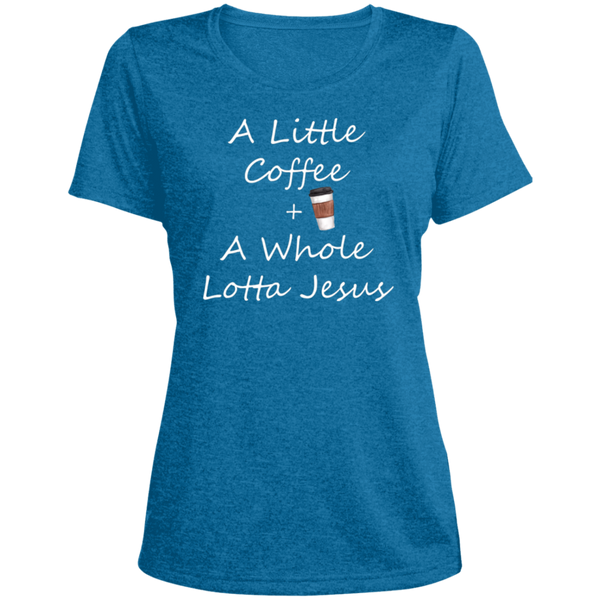 COffee + Jesus Ladies' Heather Dri-Fit Moisture-Wicking T-Shirt