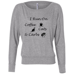 Coffee, Cats, Carbs Women's Flowy Long Sleeve Off Shoulder Tee