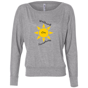 Walking On Sunshine Women's Flowy Long Sleeve Off Shoulder Tee