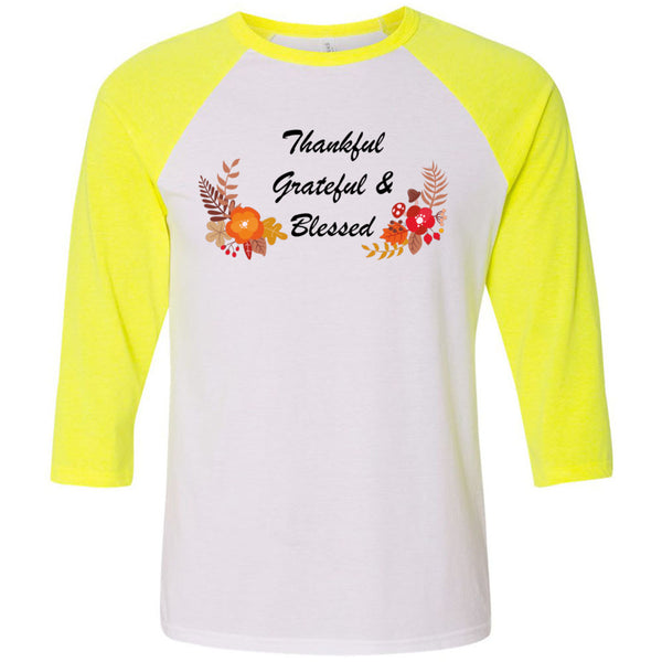 Grateful & Blessed Unisex Three-Quarter Sleeve Baseball T-Shirt