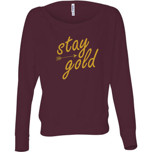 Stay Gold Women's Flowy Long Sleeve Off Shoulder Tee