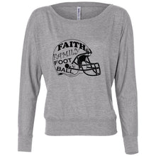 Load image into Gallery viewer, Faith Family Football Women's Flowy Long Sleeve Off Shoulder Tee
