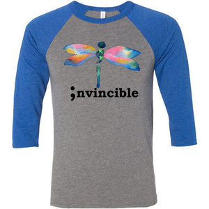 Invincible Unisex Three-Quarter Sleeve Baseball T-Shirt