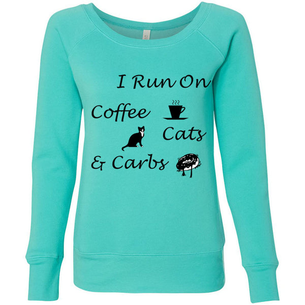 Coffee, Cats, Carbs Women's Sponge Fleece Wideneck Sweatshirt