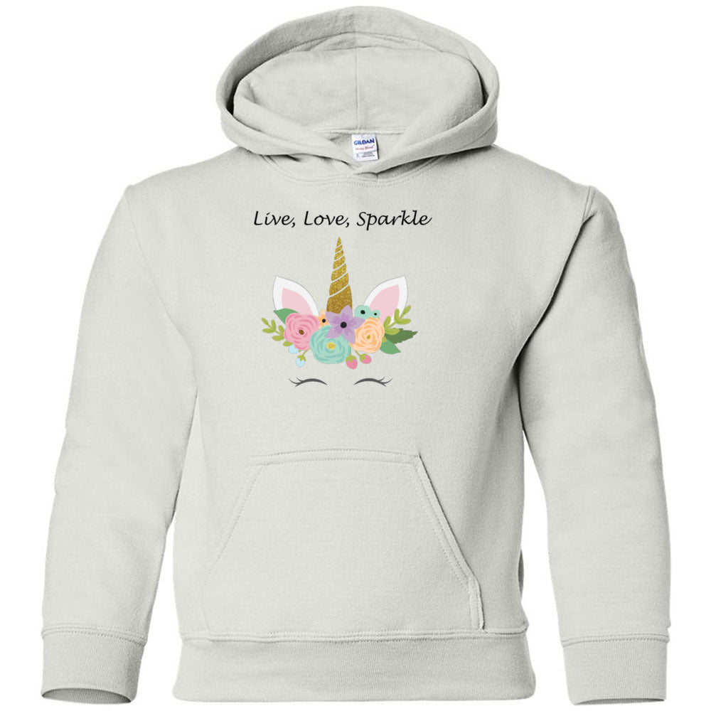 Live, Love, Sparkle Heavy Blend Youth Hooded Sweatshirt