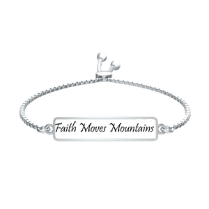Faith Moves Mountains Broad Tag Silver Slider Bracelet