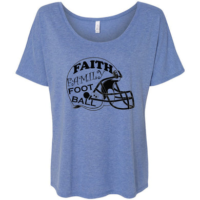 Faith Family Football Women's Slouchy Tee