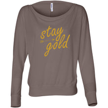 Load image into Gallery viewer, Stay Gold Women's Flowy Long Sleeve Off Shoulder Tee