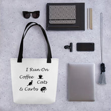 Load image into Gallery viewer, Coffee, Cats, Carbs Tote bag