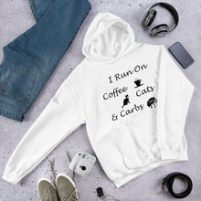 Load image into Gallery viewer, Coffee, Cats, Carbs Hooded Sweatshirt