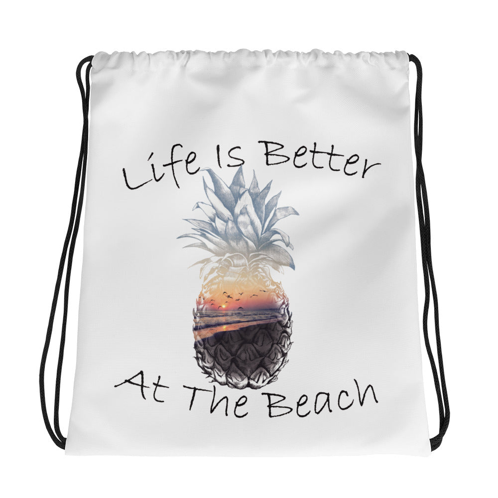 Life Is Better Drawstring bag