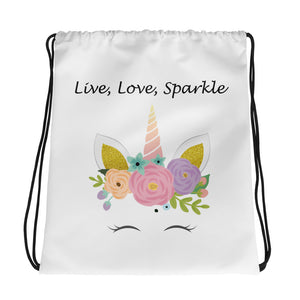 Live, Love, Sparkle Drawstring bag