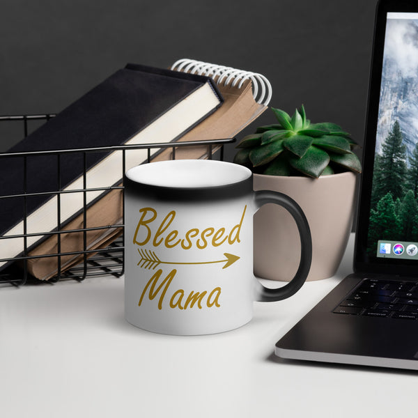 Blessed Mama Matte Black Magic Mug