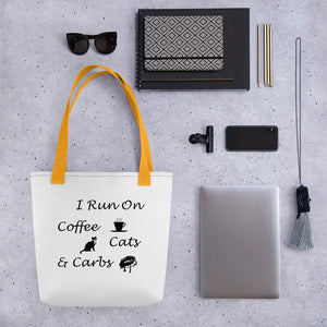 Coffee, Cats, Carbs Tote bag