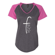 Load image into Gallery viewer, Faith Women's Triblend Colorblock Tee
