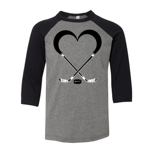 Love Hockey Youth Baseball Tee
