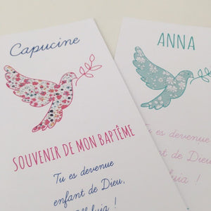 CARTE PERSONNALISEE POUR VOS CEREMONIES - COLOMBE - LOT DE 20