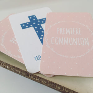 MINI CARTE DE COMMUNION À PERSONNALISER - LOT DE 12