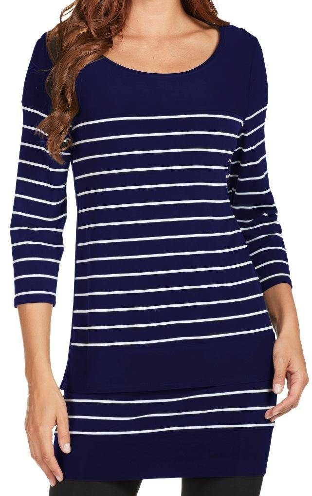 Frank Lyman Womens Striped Tunic - a-dream-fit.myshopify.com