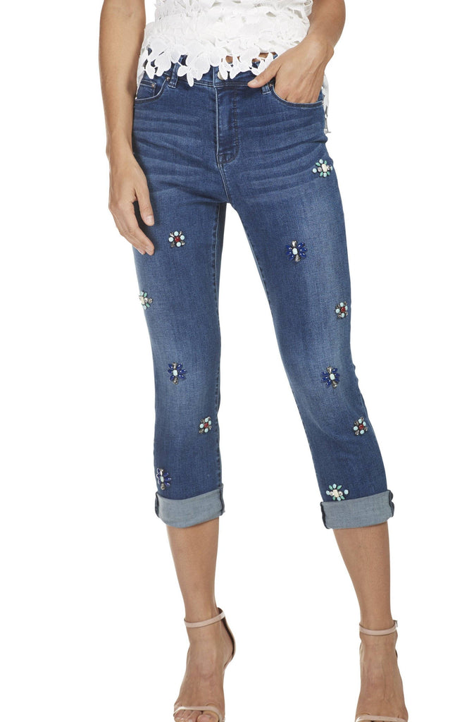 Frank Lyman Womens Beaded Jeans