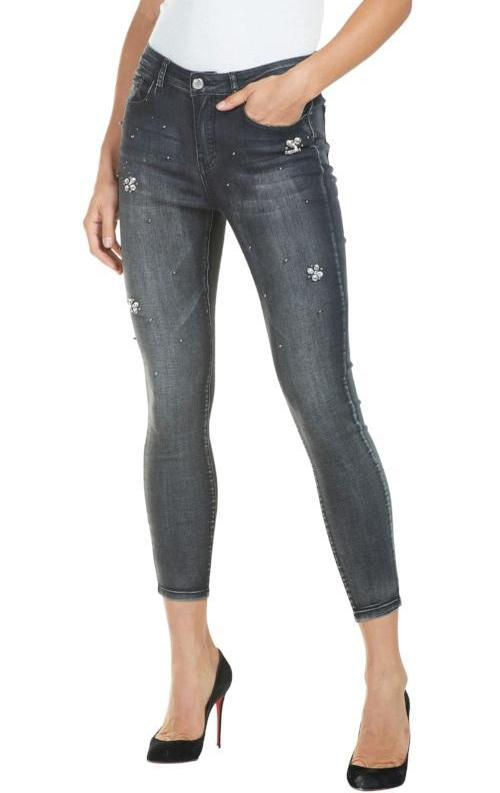 Frank Lyman Womens Charcoal Ankle Jeans