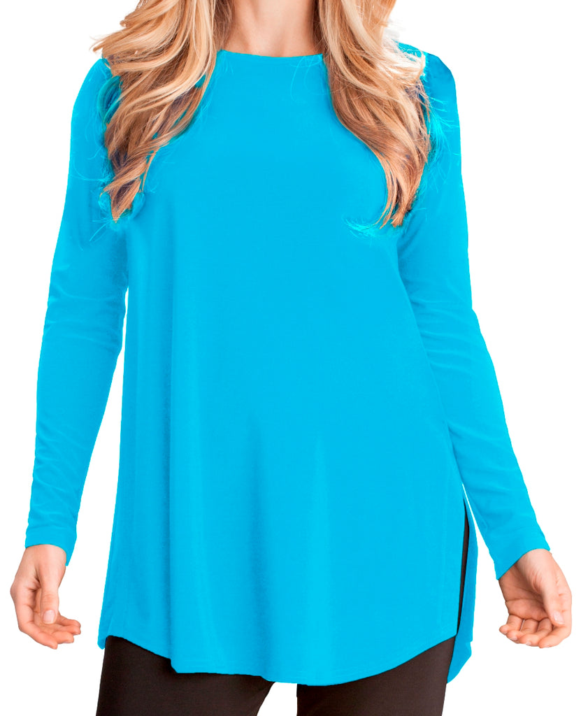 Sympli Womens Ideal Tunic Go to Classic Long Sleeves, 9 Colors - a-dream-fit.myshopify.com