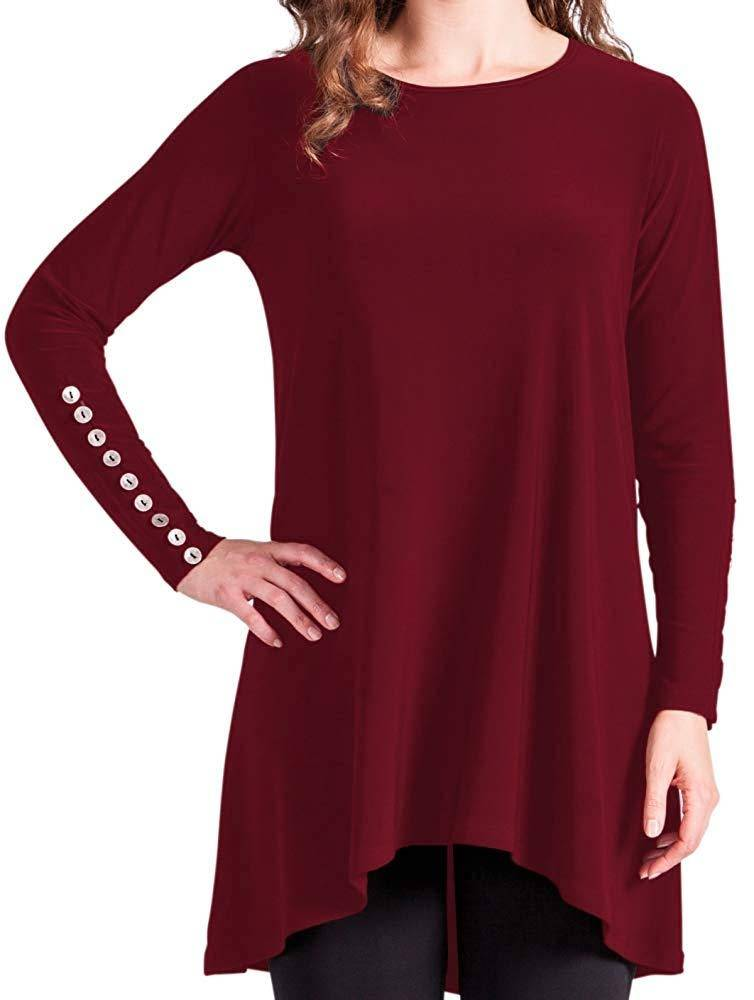 Sympli Womens Nudiva Tunic Metal Buttons Long Sleeves - A Dream Fit