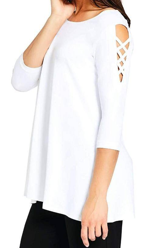 Sympli Women's Zig Zag 3/4 Sleeves Tunic Style 23120-2 - A Dream Fit