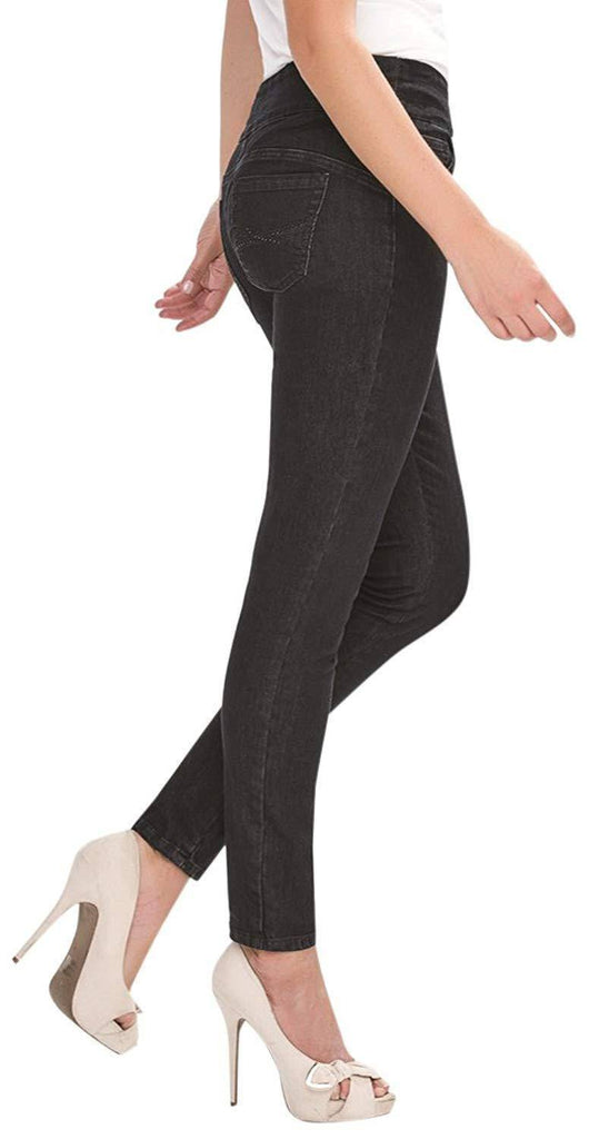 Simon Chang Canada Womens Tummy Control Pull On Jeans - A Dream Fit