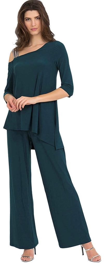 Joseph Ribkoff Womens Glitter Strap Jumpsuit Style 194025 Color Mermaid Size 4 - a-dream-fit.myshopify.com