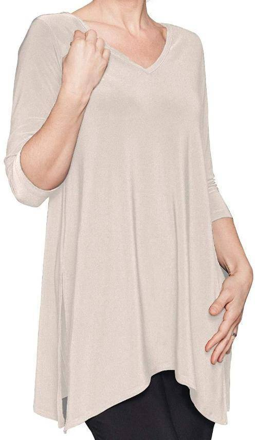 Sympli Women's Go to Wide V-Neck Tunic 3/4 Sleeves - A Dream Fit