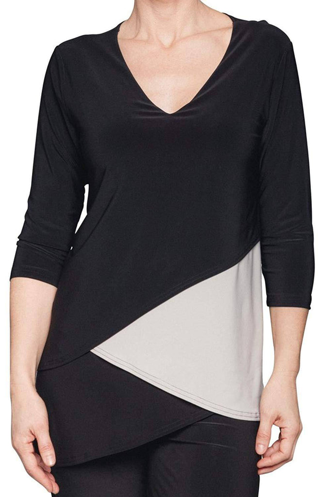Sympli Womens Matrix Layer Top 3/4 Sleeves Color Black & Oatmeal - A Dream Fit