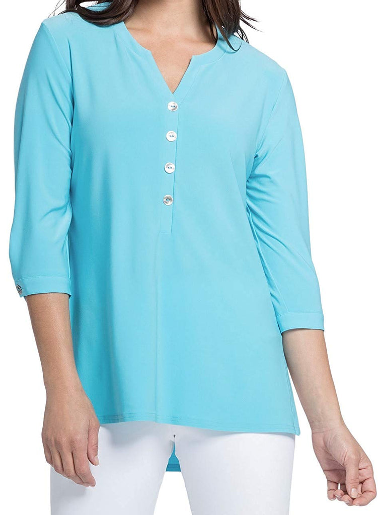 Sympli Womens Charm Henley Top Style 22184-2 Size 10 Azure - a-dream-fit.myshopify.com