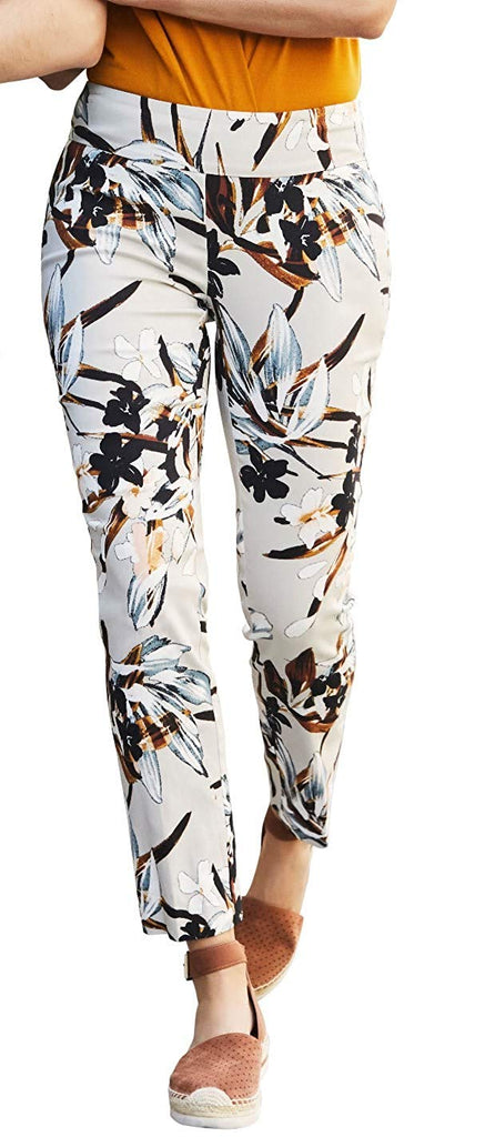 UP Womens Slim Ankle Pants Flatten and Flatter Style 66240 Techno Floral - a-dream-fit.myshopify.com