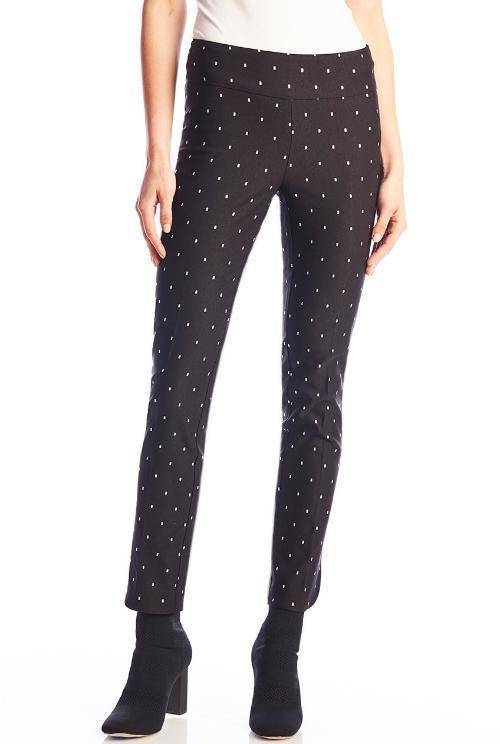 UP! Womens Flatten and Flatter Slim Ankle Pants  Silver Dots Petal Slit - A Dream Fit