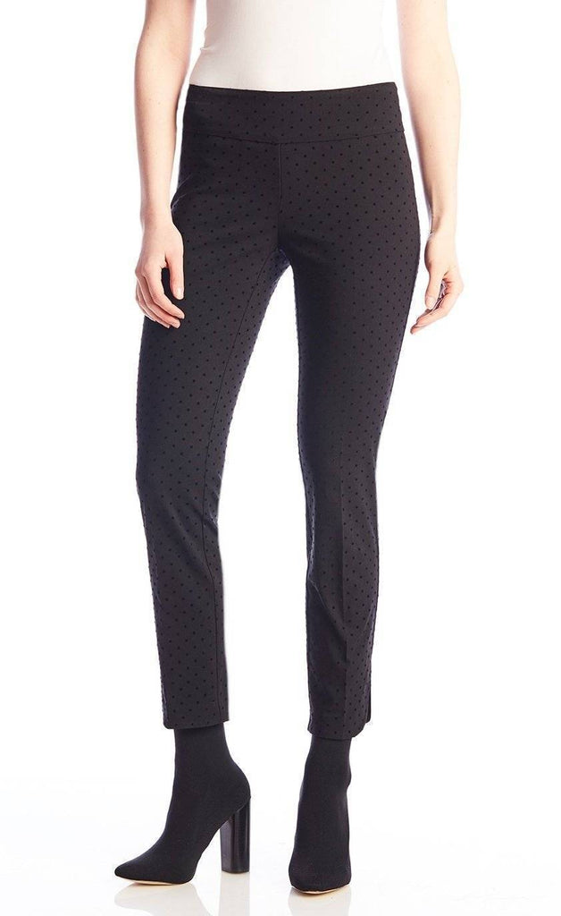 UP! Womens Flatten and Flatter Slim Ankle Pants Flocked Dot Petal Slit - A Dream Fit
